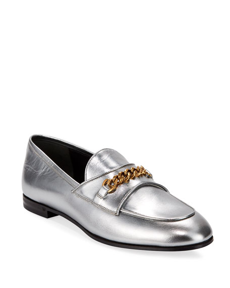TOM FORD Metallic Loafers with Chain Detail