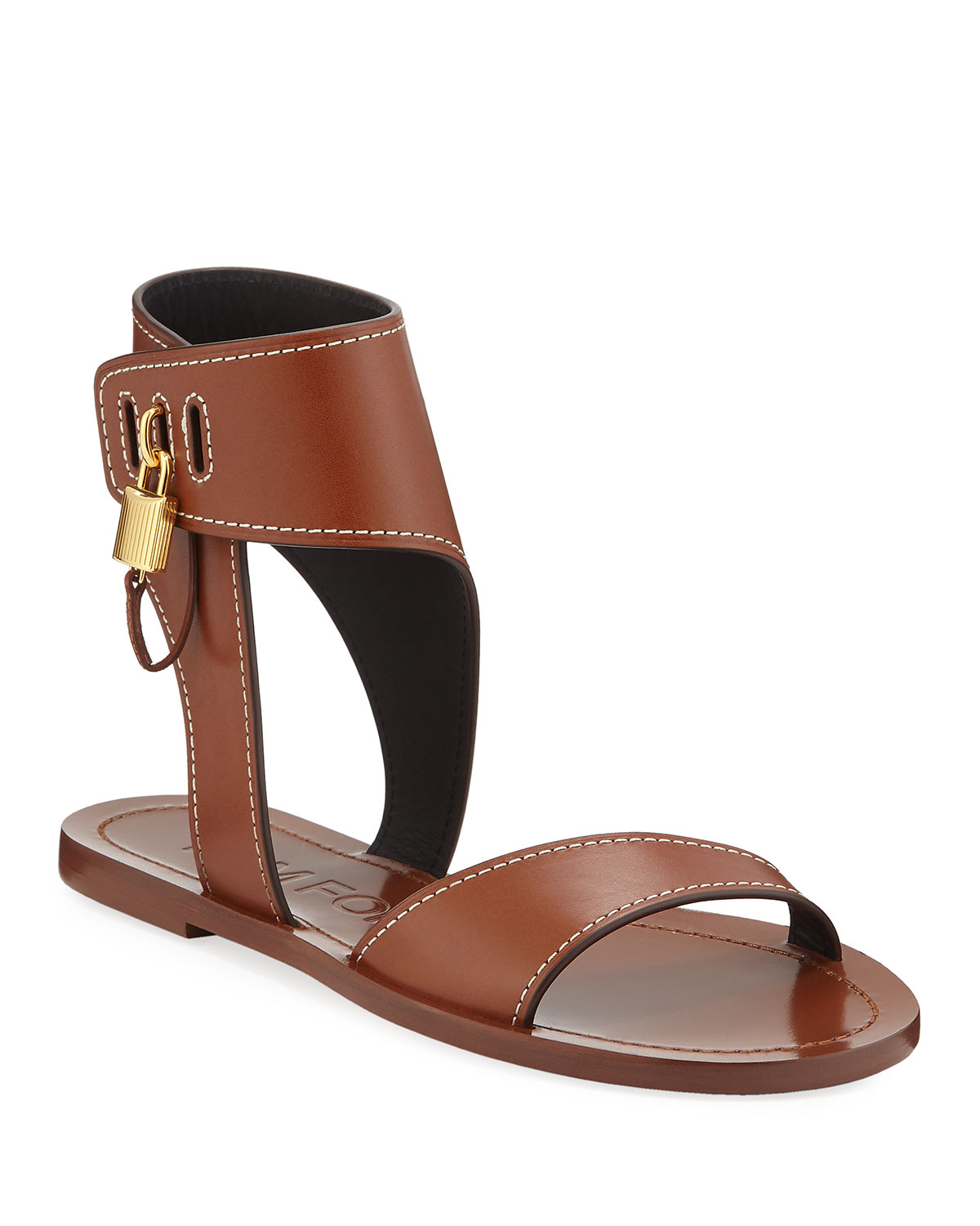 flat-leather-sandals-with-padlock by tom-ford