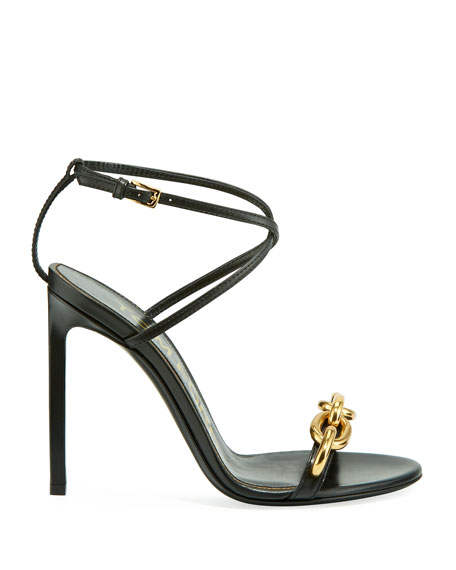 TOM FORD Leather Sandals with Chain Trim