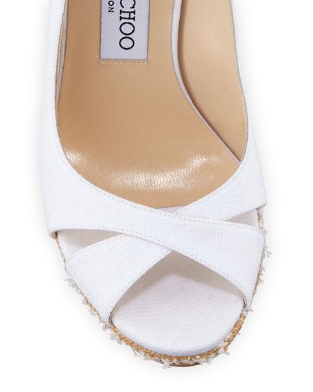 Jimmy Choo Amely Canvas Platform Wedge Sandals