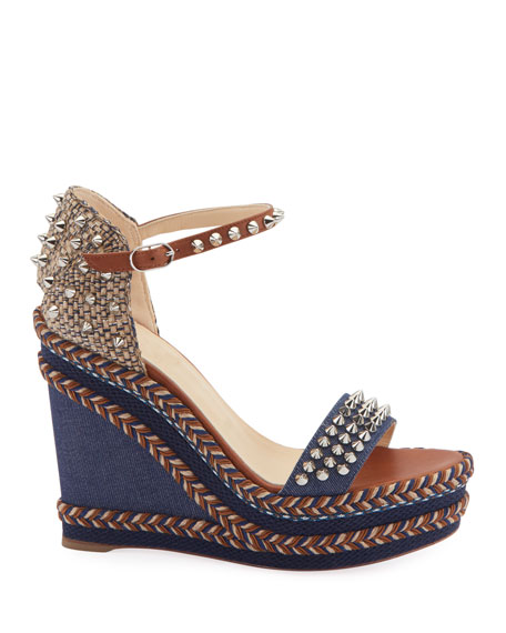 Christian Louboutin Madmonica 120mm Spiked Denim Wedge Red Sole Sandals