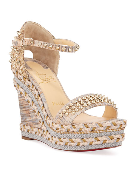 Christian Louboutin Madmonica 120mm Spiked Liege Cork Wedge Red Sole Sandals