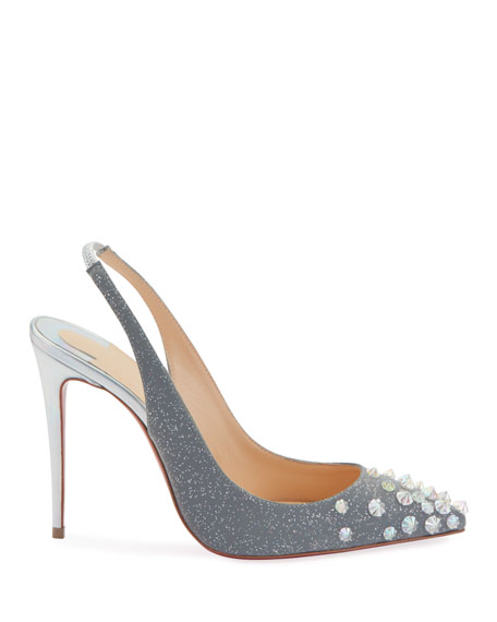 Christian Louboutin Drama Sling 100mm Spike Specchio Laser Red Sole Pumps
