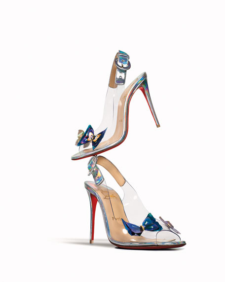 Christian Louboutin Ilcepoze 100 See-Through Red Sole Pumps with Butterfly