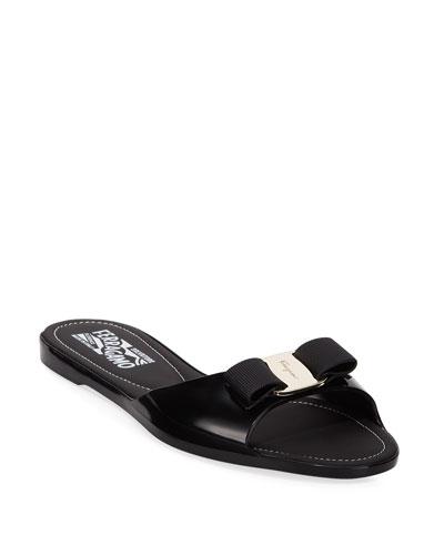 Cirella Flat PVC Jelly Bow Slide Sandals  Black