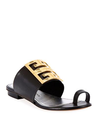 Flat Leather 4G Logo Slide Sandals
