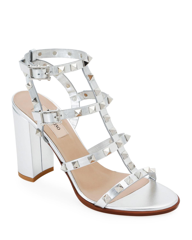 16ffd8029 Valentino Garavani Rockstud Strappy Metallic Leather Block-Heel Sandals
