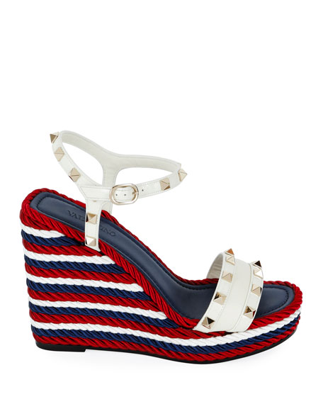Valentino Garavani Rockstud Leather Torchon Wedge Sandals