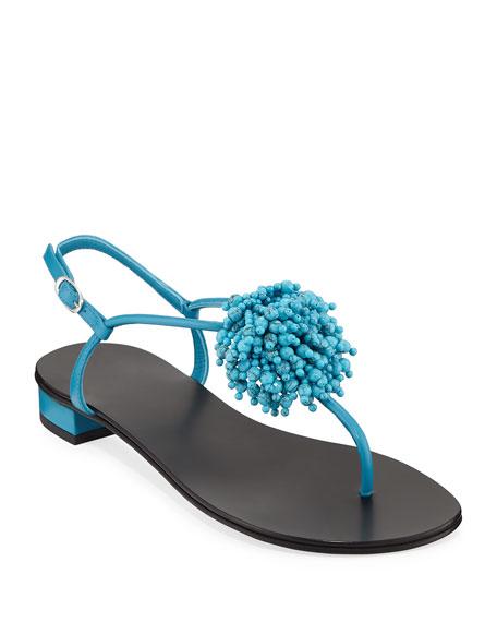 Giuseppe Zanotti Leather Sandals with Fringed Beading