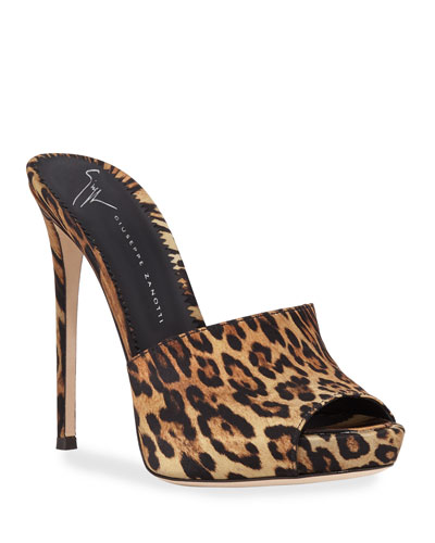 Satin Cheetah Platform Slide Sandals
