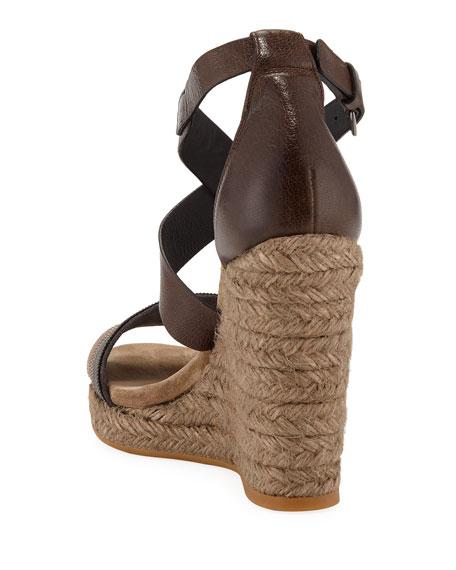 Brunello Cucinelli Leather Wedge Espadrille Sandals