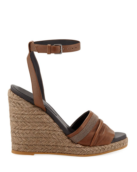 Brunello Cucinelli Leather Wedge Espadrille Sandals with Monili Toe