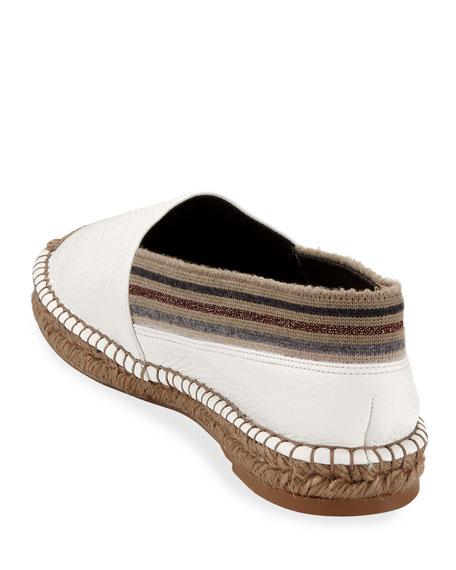 Brunello Cucinelli Flat Leather Slip-On Espadrilles with Striped Cuff