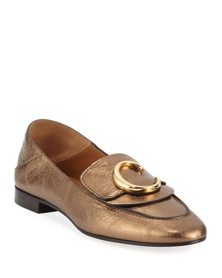 Chloe C Metallic Flat Fold-Down Loafers