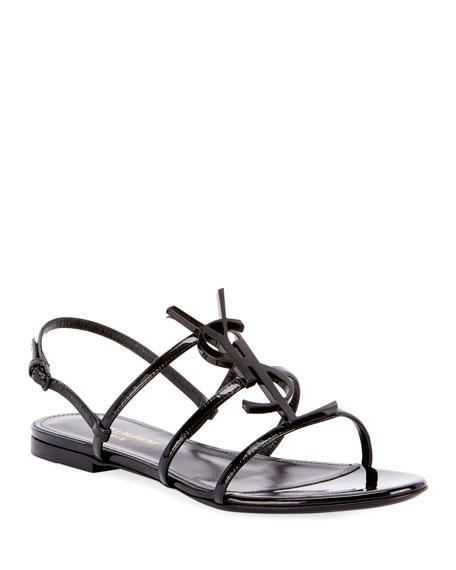Saint Laurent Cassandra YSL Logo Flat Patent Sandals