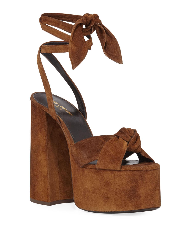 9ace0757640 Saint Laurent Paige Platform Suede Sandals