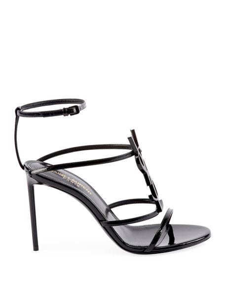 Saint Laurent Cassandre YSL Monogram Patent Sandals