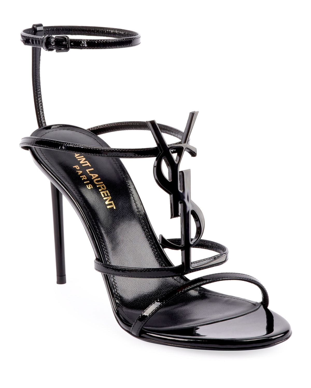 ec8813fb451b8 Saint Laurent Cassandra YSL Monogram Patent Sandals | Neiman Marcus