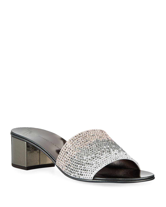 f32200e11f652 Giuseppe Zanotti Ombré Crystal Slide Sandals | Neiman Marcus