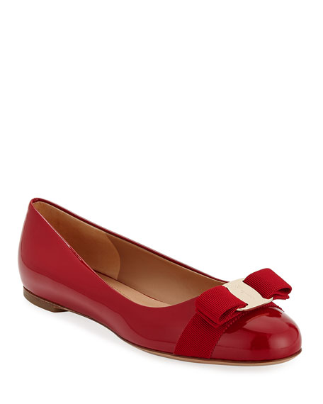 Image 1 of 3: Salvatore Ferragamo Varina Patent Bow Ballet Flats, Rosso (Red)