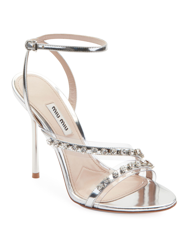 84aad122291fe Miu Miu Metallic Jeweled High-Heel Sandals   Neiman Marcus