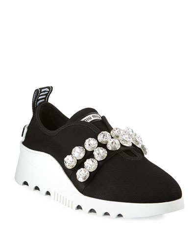 Stretch-Fabric Embellished Trainers