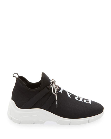 Prada Knit Logo Lace-Up Sneakers