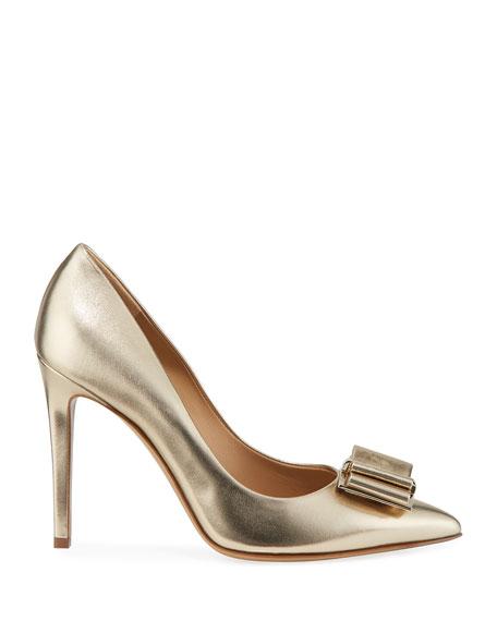 Salvatore Ferragamo Zeri High-Heel Metallic Leather Bow Pumps