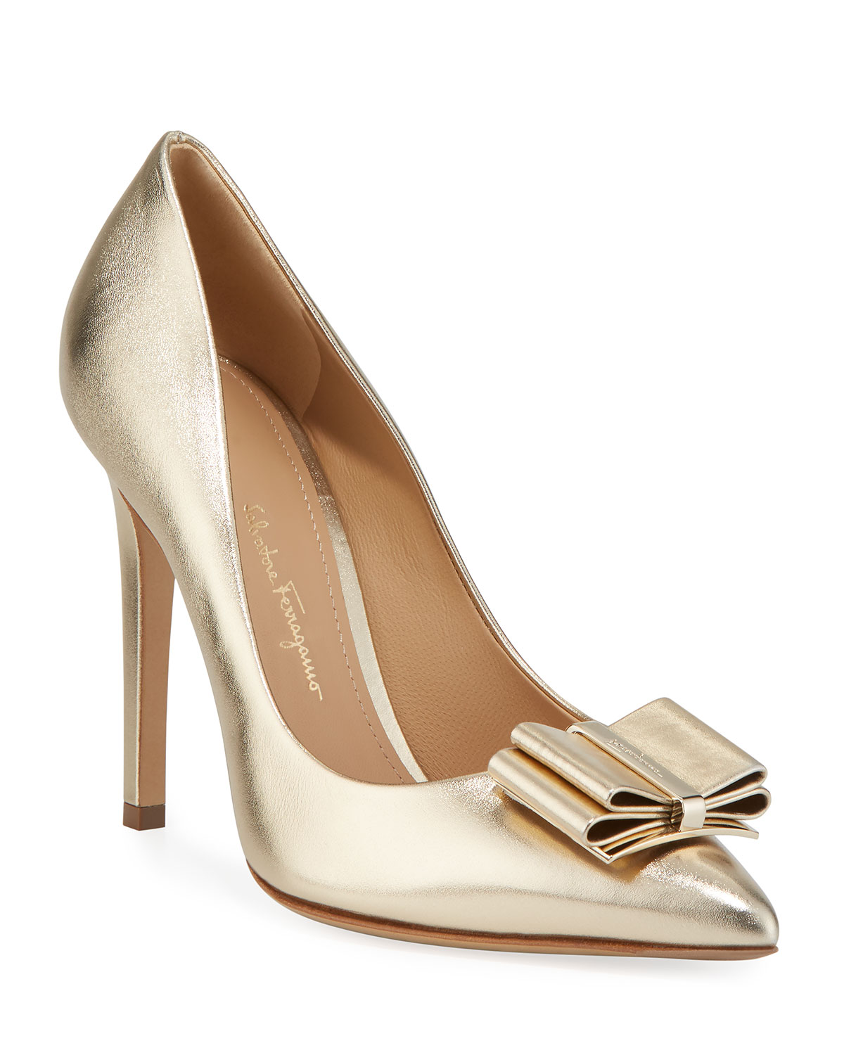 028596fd6778e Zeri High-Heel Metallic Leather Bow Pumps