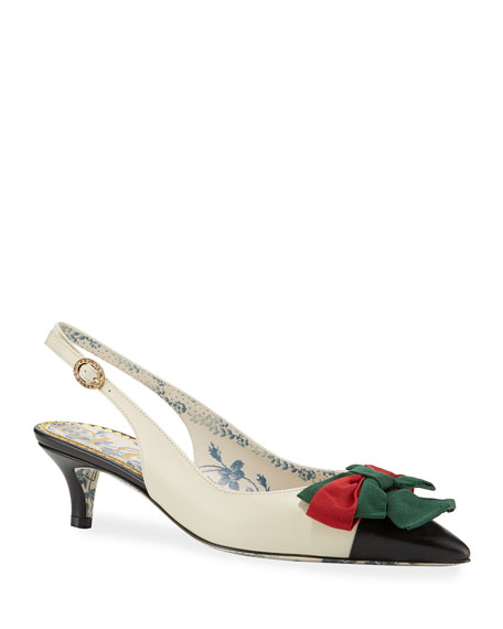 Gucci Jane Slingback Pumps with Web Bow