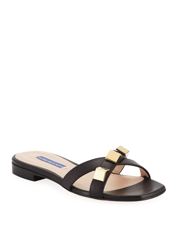 48fba8461872 Stuart Weitzman Flat Leather Studded Sandals