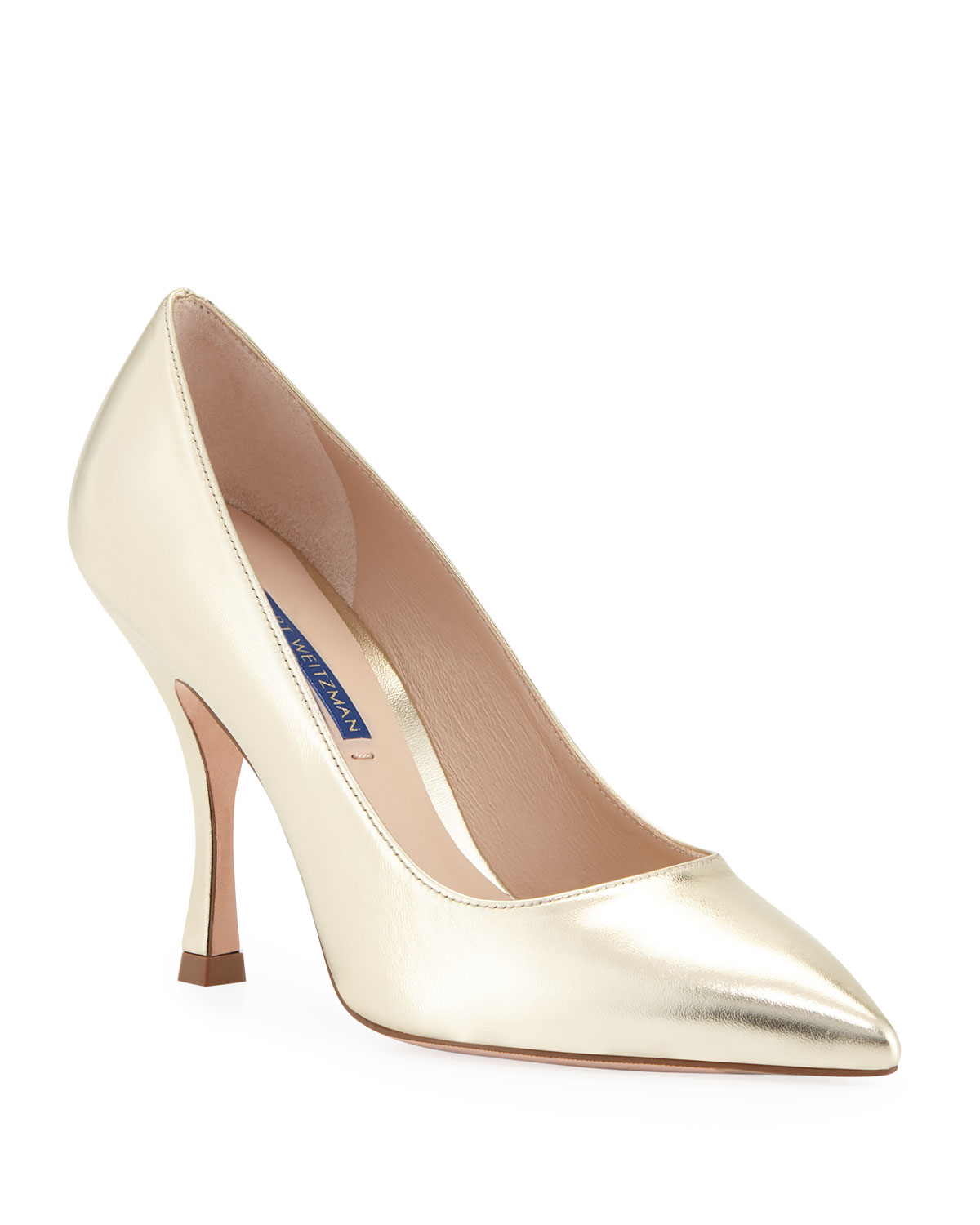 a7447ccca6 Stuart Weitzman Tippi 95mm Metallic Leather Point-Toe Pumps | Neiman ...