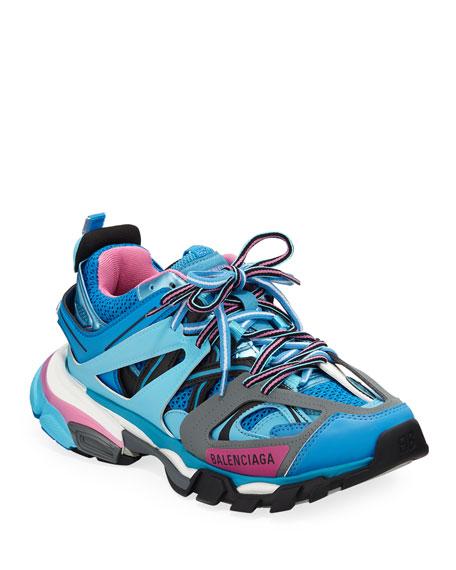 Track Colorblock Mixed Sneakers, Bleu Roi by Balenciaga
