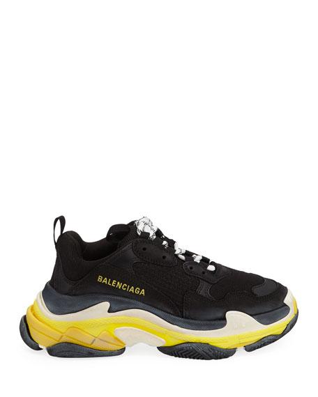 Balenciaga Triple S Nylon Sneakers with Logo, Noir/Jaun