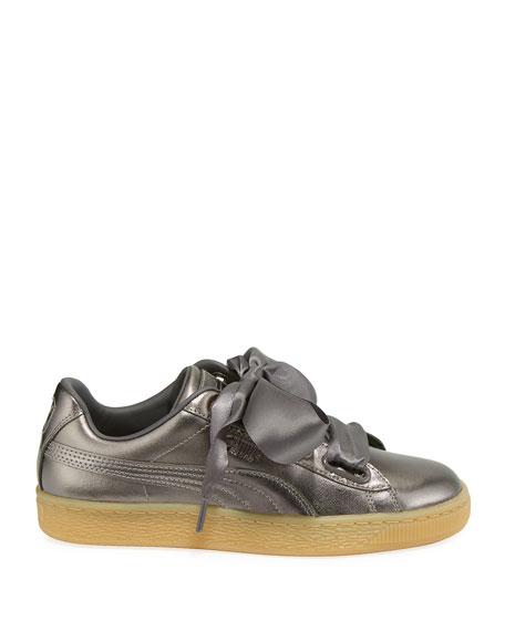 Puma Basket Heart Luxe Metallic Leather Sneakers