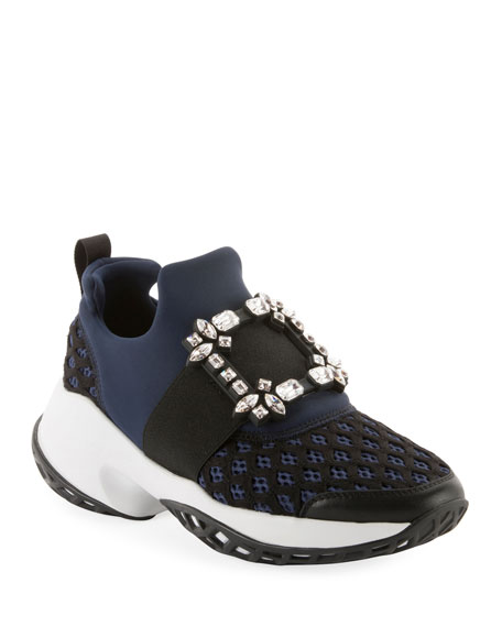 Roger Vivier Running Strass Buckle Stretch Sneakers