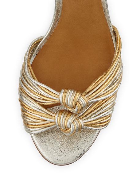 Veronica Beard Alessia Metallic Knot Sandals