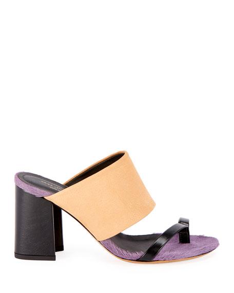 Dries Van Noten Calf-Hair Trim Toe-Ring Chunky Slide Sandals