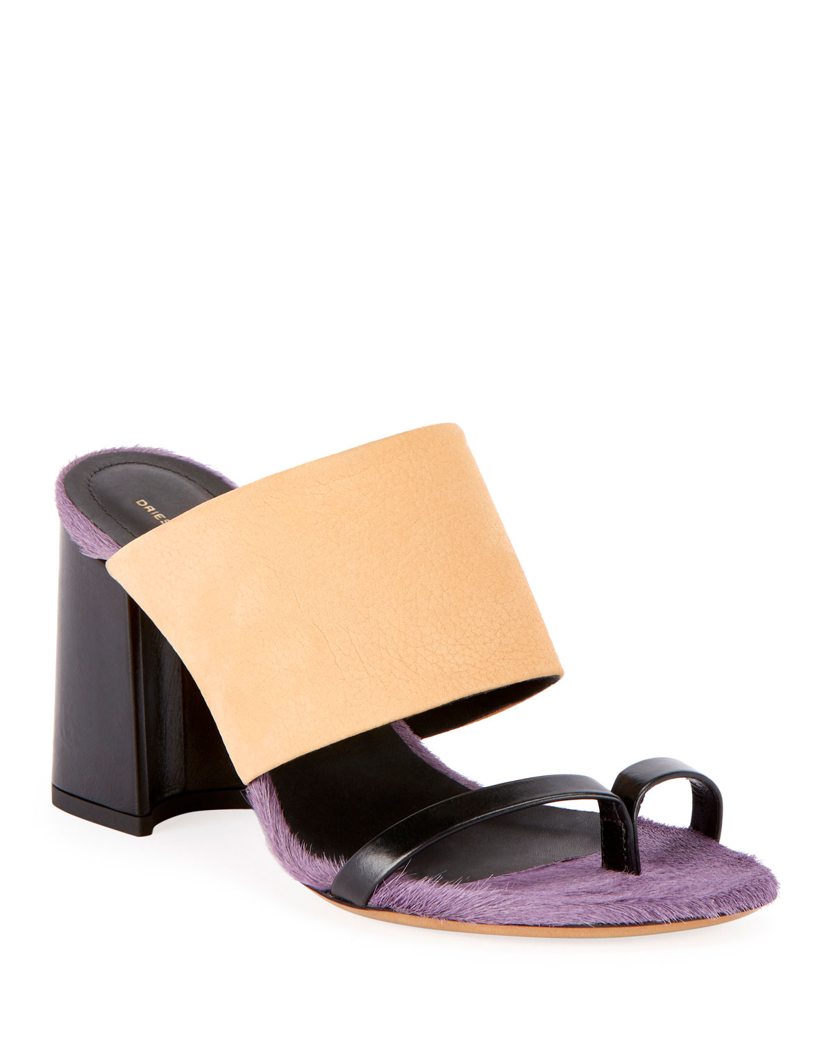 ddf9d459c3 Dries Van Noten Calf-Hair Trim Toe-Ring Chunky Slide Sandals ...