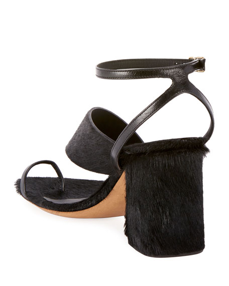 Dries Van Noten Asymmetric-Strap Calf Hair Chunky Sandals