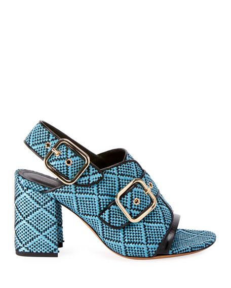 Dries Van Noten Raffia Calf-Leather Chunky Heel Sandal s
