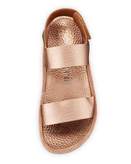 Pedro Garcia Lacey Metallic-Leather & Suede Flatform Sandals