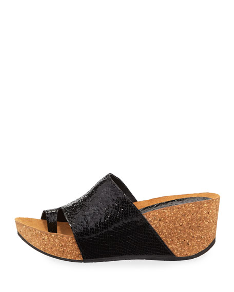 Donald J Pliner Ginie Metallic Snake-Print Leather Wedge Slide Sandals