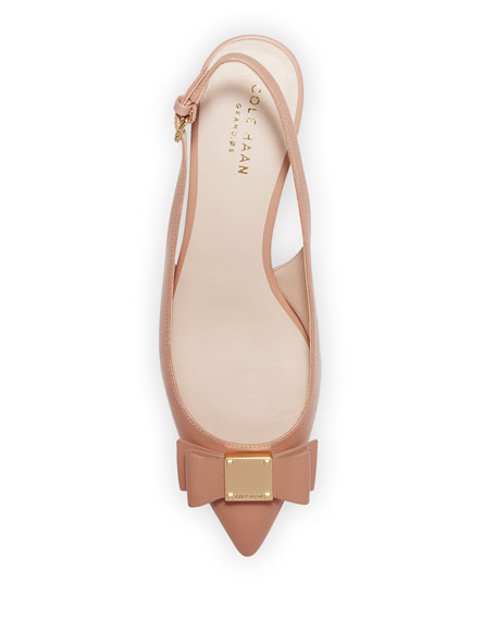 Cole Haan Tali Grand Bow Kitten-Heel Leather Pumps, Nude