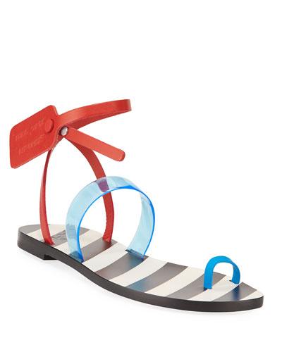 Zip Tie Capri Toe-Ring Sandals
