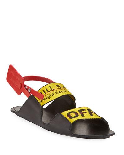 Zip Tie Leather Slingback Sandals