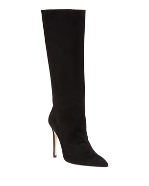 d395a7ca5 Alexandre Birman Porto Suede Pointed-Toe Boot, Black