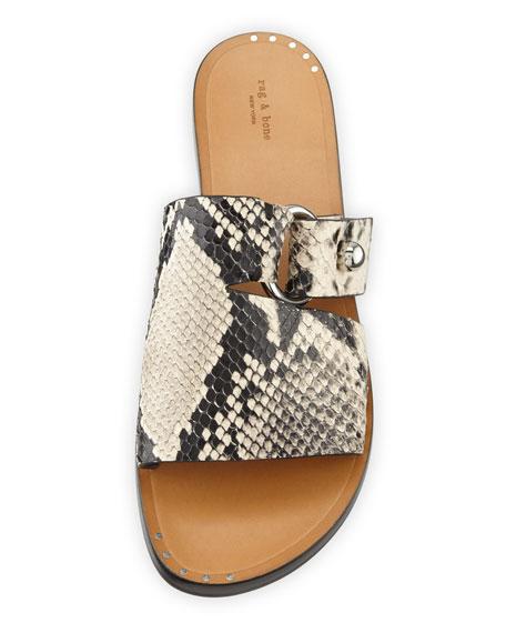 Rag & Bone Arc Flat Snake-Print Slide Sandals