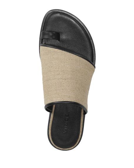 Vince Edan Flat Linen Slide Sandals