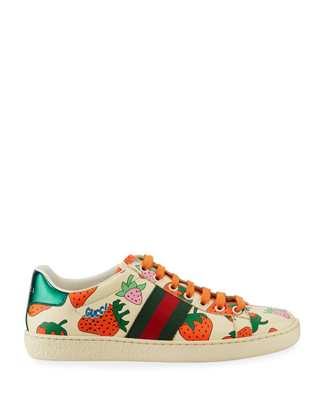 Gucci New Ace Leather Low-Top Berry Sneakers
